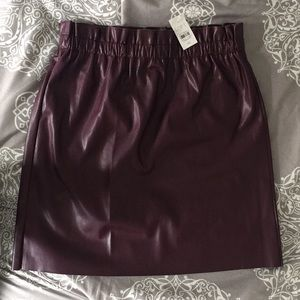 NWT LOFT Burgundy Leather Skirt